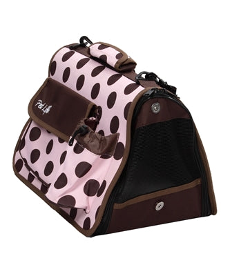 Airline Approved Polka Dot Folding Casual Pet Carrier w/ Bottle Holder and Pouch -