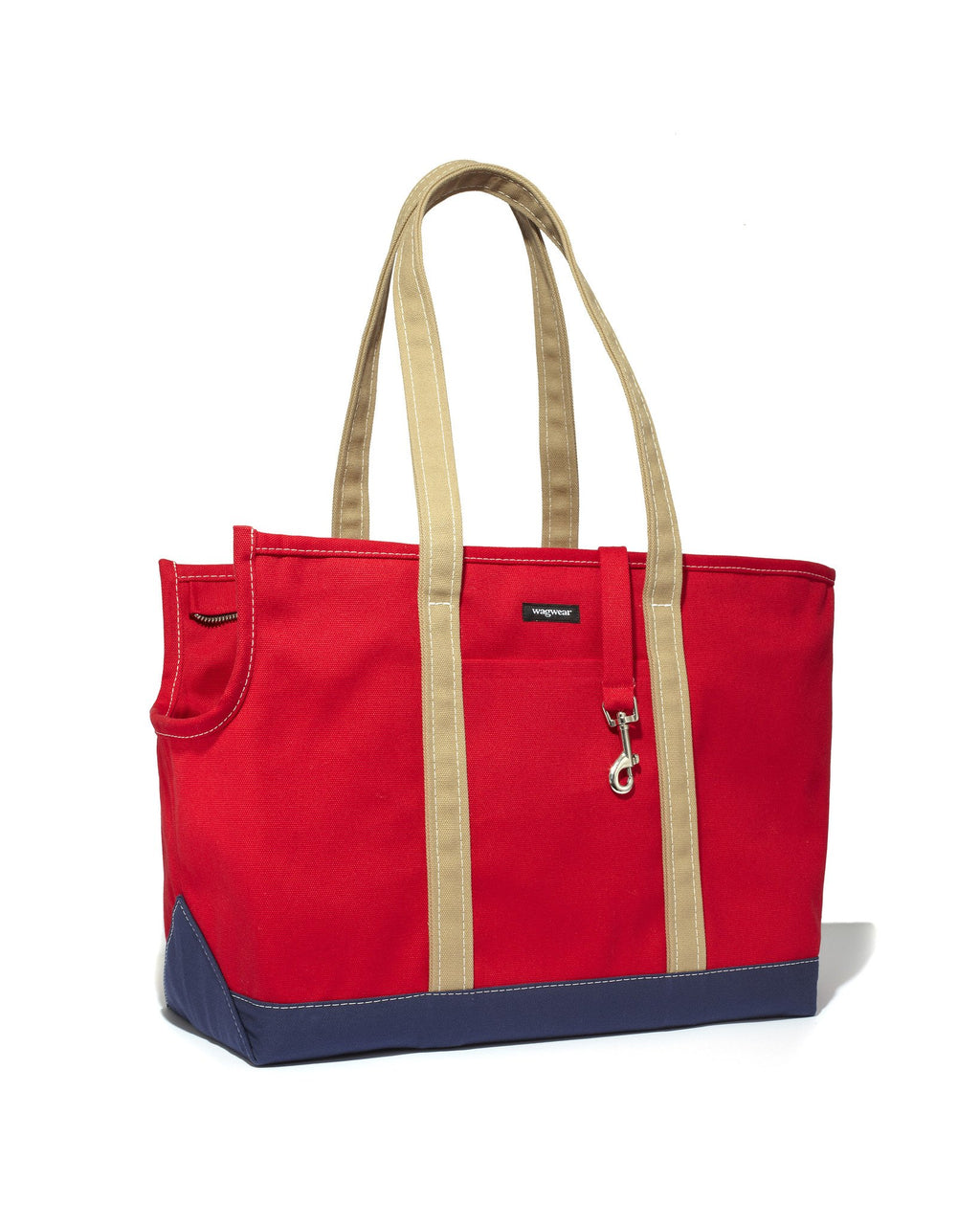 Tri-Color Boat Canvas Carrier - Red/Navy/Tan