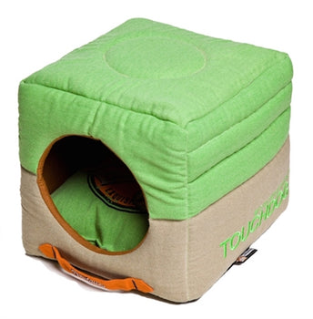 Mint Green Touchdog Convertible And Reversible Vintage Printed Squared 2-In-1 Collapsible Dog House Bed