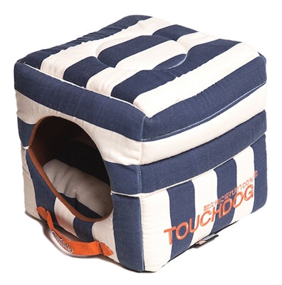 Blue Touchdog Polo-Striped Convertible And Reversible Squared 2-In-1 Collapsible Dog House Bed