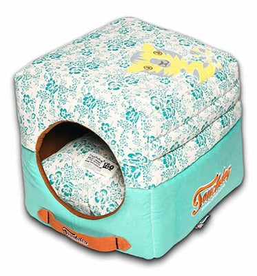 Teal Blue Touchdog Floral-Galore Convertible And Reversible Squared 2-In-1 Collapsible Dog House Bed