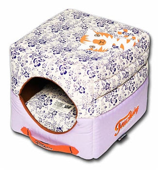 Lavender Touchdog Floral-Galore Convertible And Reversible Squared 2-In-1 Collapsible Dog House Bed