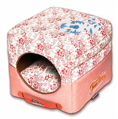 Red Touchdog Floral-Galore Convertible And Reversible Squared 2-In-1 Collapsible Dog House Bed