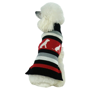 Dog Patterned Fashion Ribbed Turtle Neck Pet Sweater