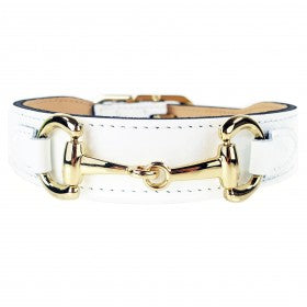 Belmont in White Patent & Gold