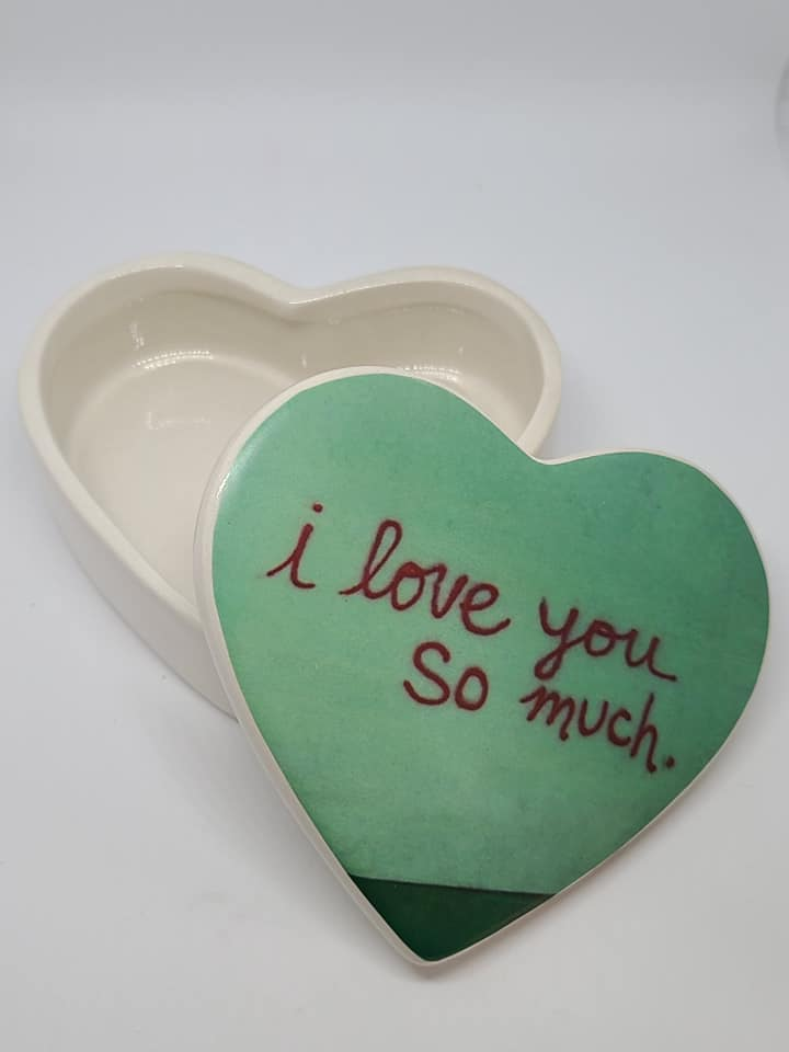 Heart Shaped Box - Ceramic - I love you so much mural Austin Tx - blank inside or custom text