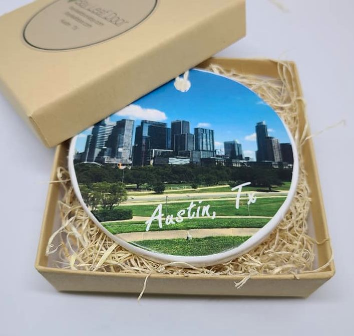 Ceramic Austin Texas Ornament - Austin Skyline