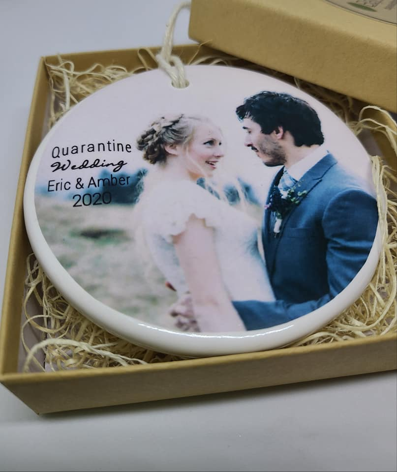 CUSTOM -  Quarantine Wedding Ornament - photo - your names and year