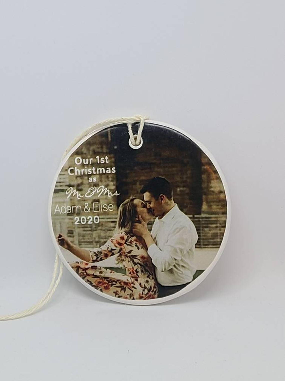 CUSTOM -  Our 1st Christmas as Mr and Mrs Ornament - photo - your names and year