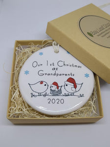 Ceramic Our 1st Christmas as Grandparents ornament - baby boy, baby girl or egg