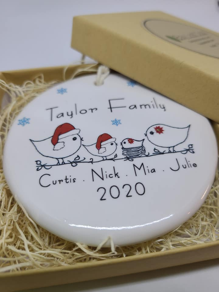 CUSTOM - Family Christmas Ornament -your family's names and year