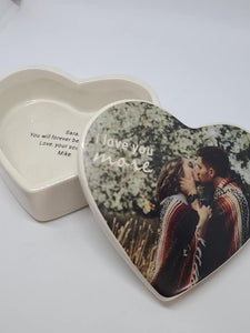 Heart Shaped Box - I love you more - your photo - blank inside or custom text