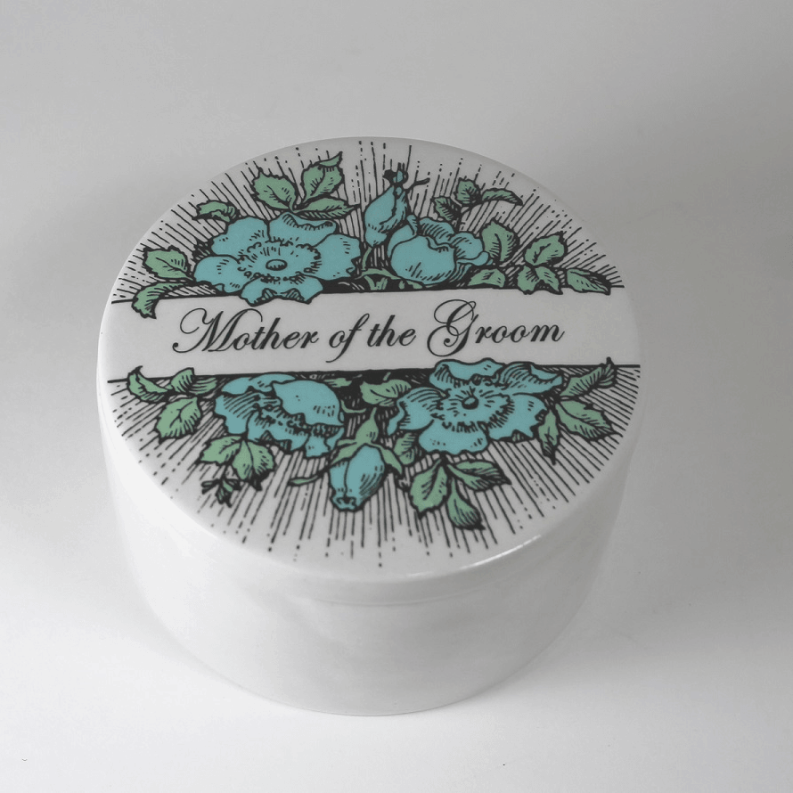 Wedding Party Gift  - ceramic keepsake box - Mother of the Bride or other name - Bay Leaf Door