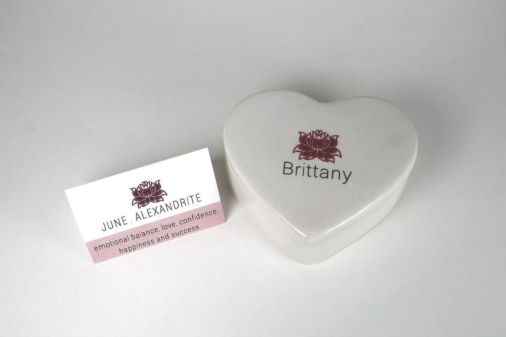 Birthstone Inspired with Lotus Flower - Heart Shaped Ceramic Keepsake Box - Bay Leaf Door