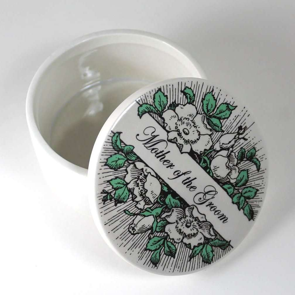 Wedding Party Gift  - ceramic keepsake box - Mother of the Groom or other name - Bay Leaf Door