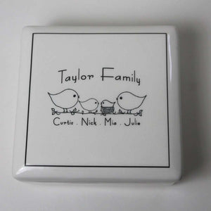CUSTOM - Ceramic - Family Keepsake Box - Bay Leaf Door