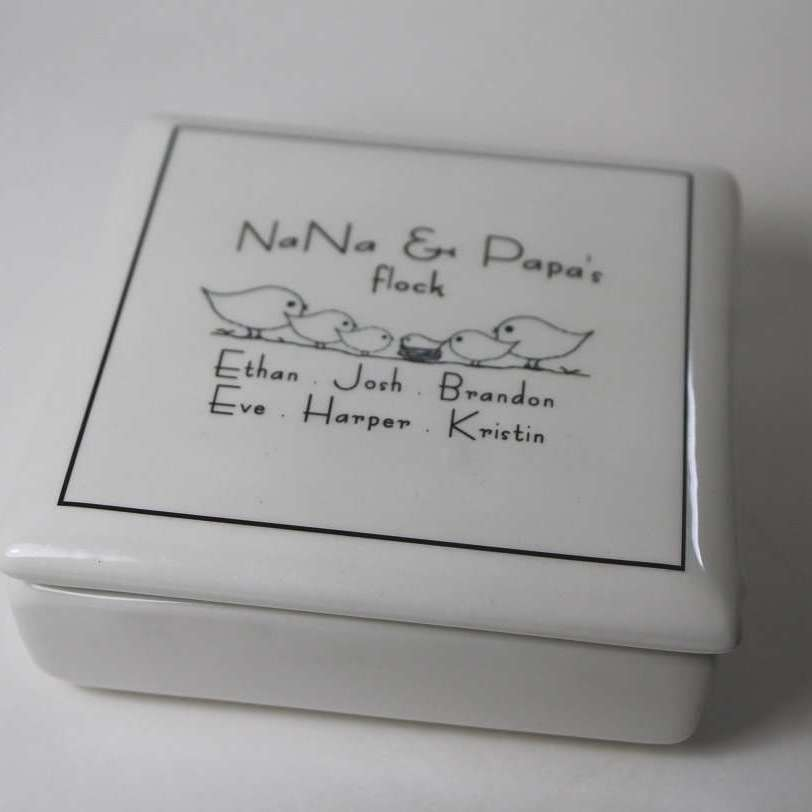 CUSTOM - Ceramic - Grandparent Keepsake Box - Bay Leaf Door