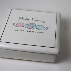 CUSTOM - Ceramic - Family Keepsake Box - WHALES - Bay Leaf Door