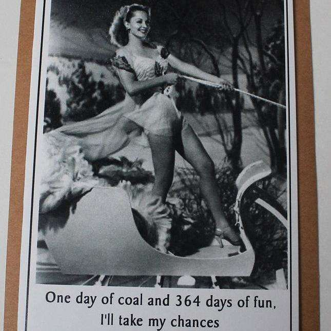 Vintage Retro Inspired Snarky Holiday Greeting Card - coal - Bay Leaf Door