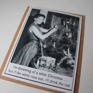 Vintage Retro Inspired Snarky Holiday Greeting Card - wine - Bay Leaf Door