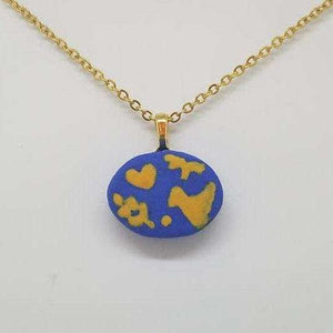 Clay Otomi Necklace - blue and yellow - Bay Leaf Door