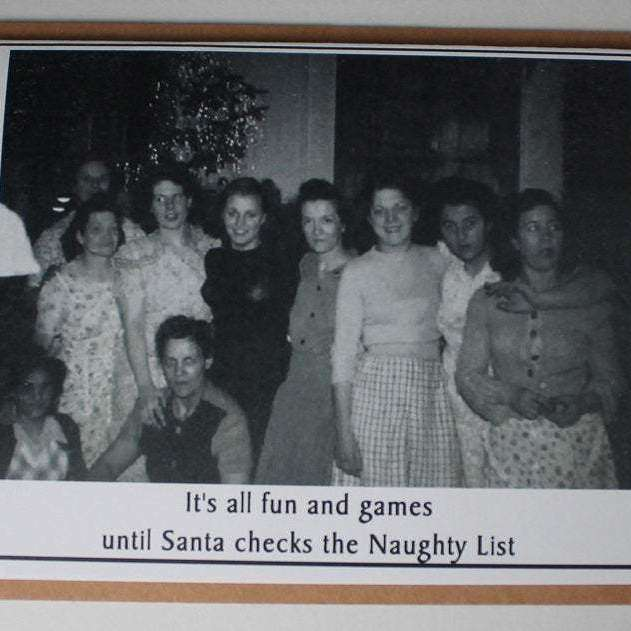 Vintage Retro Inspired Snarky Holiday Greeting Card - naughty list - Bay Leaf Door