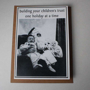 Vintage Retro Inspired Snarky Holiday Greeting Card - trust - Bay Leaf Door
