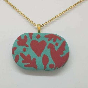 Clay Otomi Necklace - turquoise and red - Bay Leaf Door