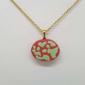 Clay Otomi Necklace - red and mint - Bay Leaf Door
