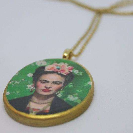 Necklace - Frida Kahlo - green - gold - Bay Leaf Door