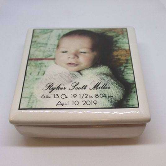 Ceramic Baby Keepsake Box - baby photo with birthdate weight length time of birth - Bay Leaf Door