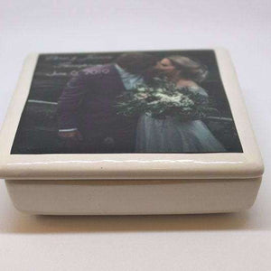 Ceramic MR & MRS Keepsake Box - your photo names and wedding date - Bay Leaf Door