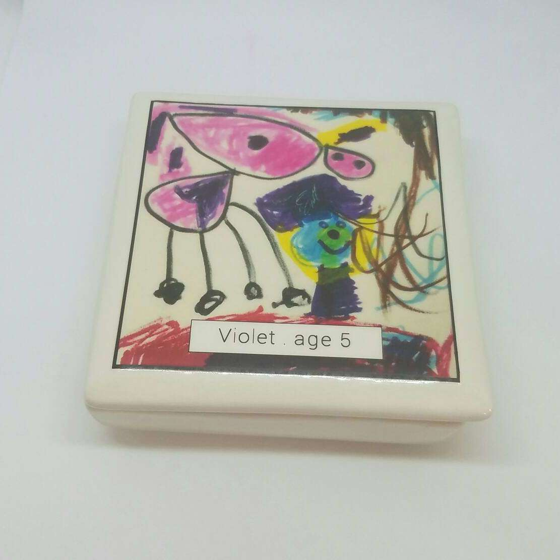 Ceramic Kid's Art Keepsake Box - your child's artwork and age - Bay Leaf Door