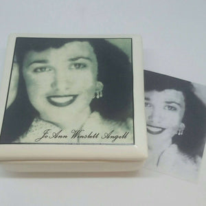 Ceramic Heirloom Memorial Box - your family member's photo and name - Bay Leaf Door