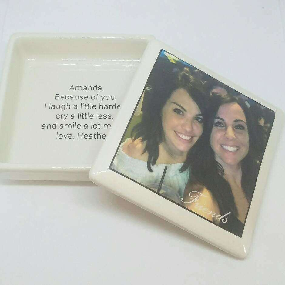 Ceramic Friend Keepsake Box - your photo with Friends text or custom resquest - Bay Leaf Door