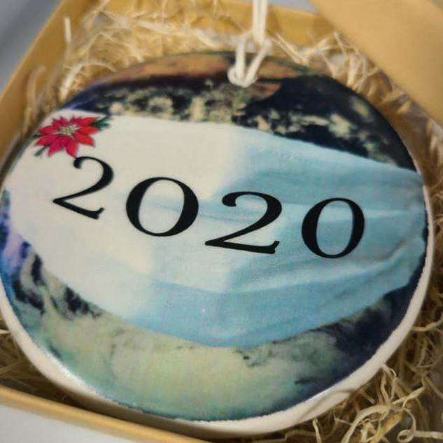 2020 Mask Christmas Ornament - globe with face mask - Bay Leaf Door
