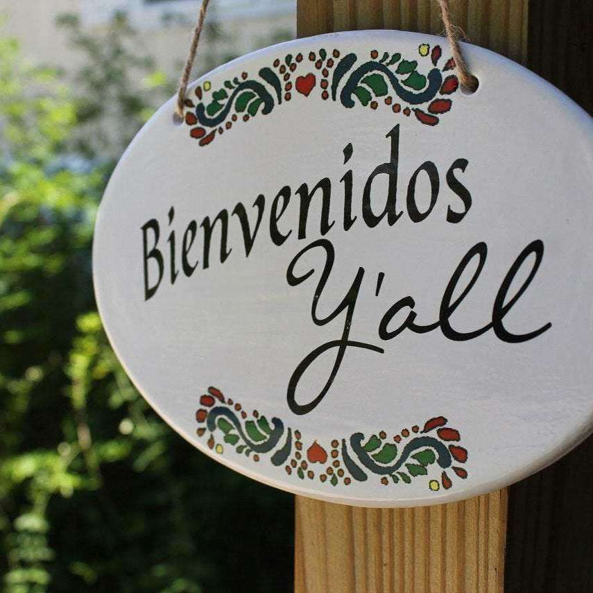 ceramic sign - Bienvenidos Y'all - Bay Leaf Door