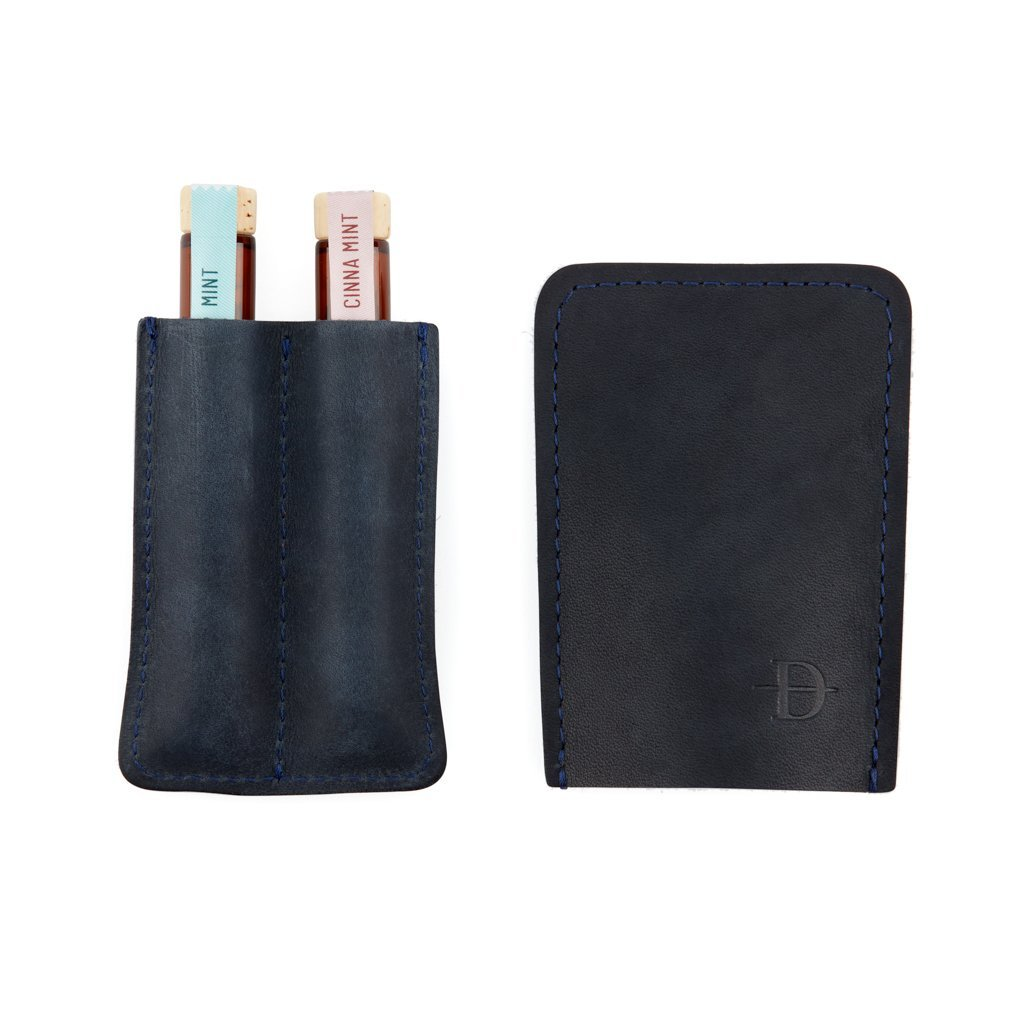 Daneson Toothpicks Navy Two-Finger Leather Case Closed