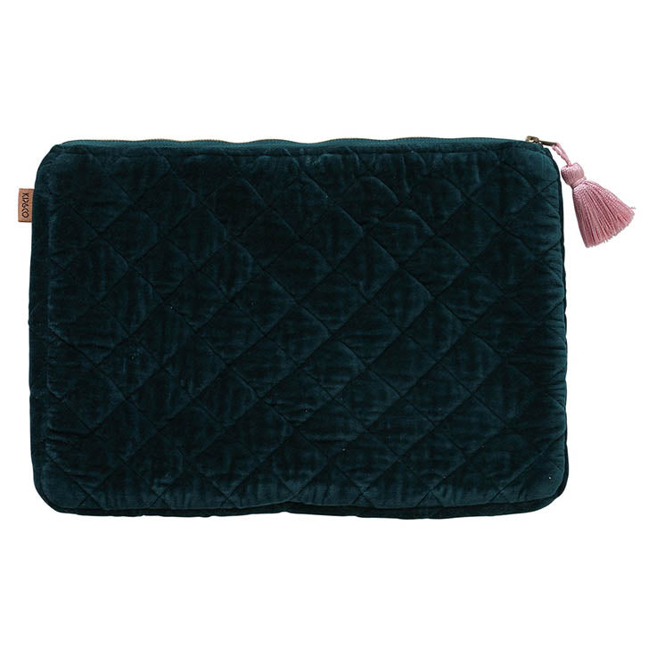 Alpine Green Velvet Quilted Laptop Case