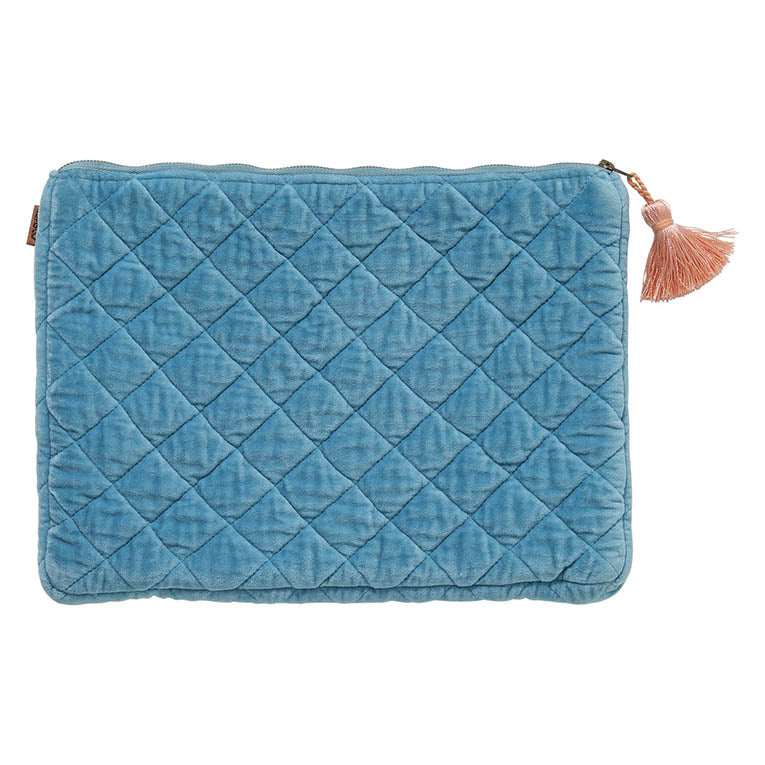 Aquamarine Blue Velvet Quilted Laptop Case