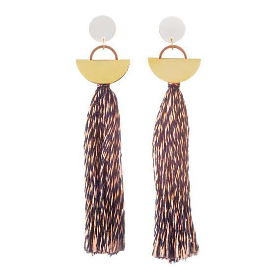 Khamun Tassel Earrings - Copper & Navy