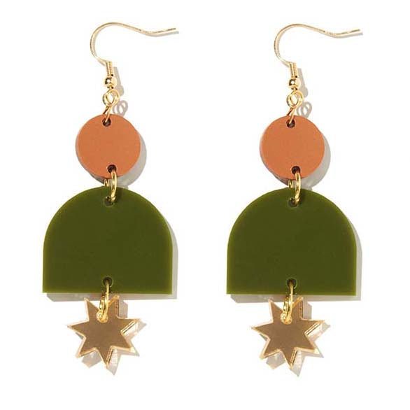 Alexa Bronze, Olive and Gold Earrings - Emeldo