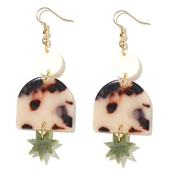 Alexa Cream, Tortise & Olive Green Earrings - Emeldo