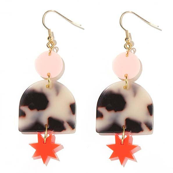 Alexa Pale Pink, Tortise and Neon Red Earrings - Emeldo