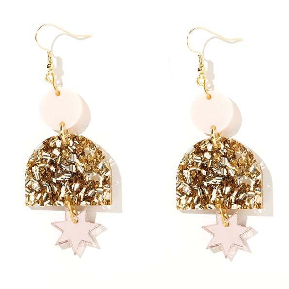 Alexa Pale Pink, Chunky Gold Glitter and Rose Gold Earrings - Emeldo