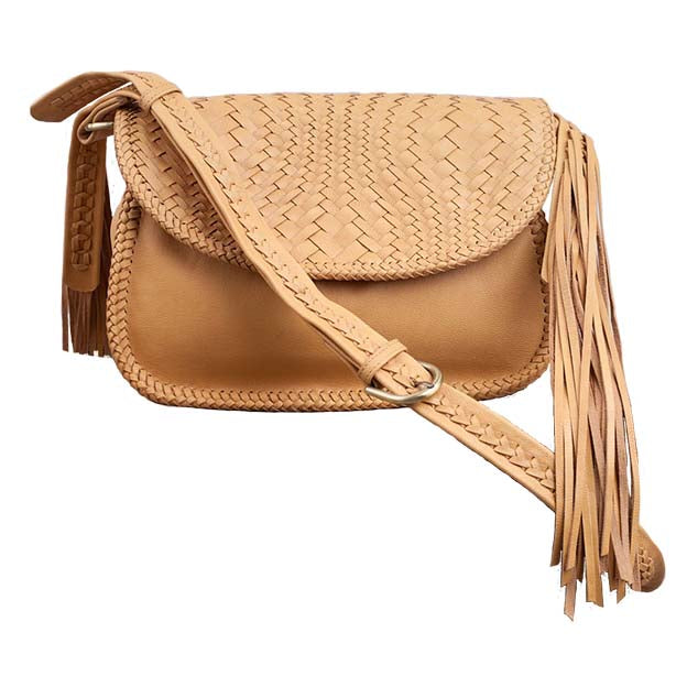 Ari woven cross-body bag in camel