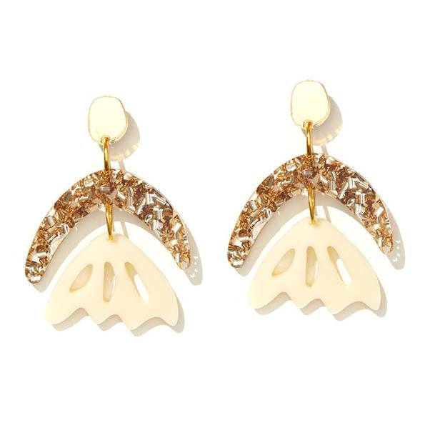 Arlie Gold Glitter and Cream Earrings - Emeldo