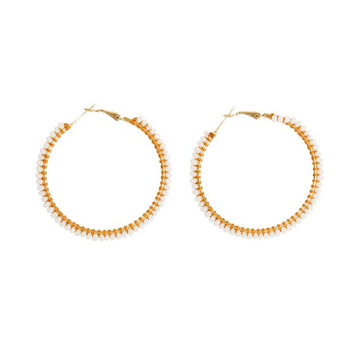 Aster Large Hoop Earrings - White