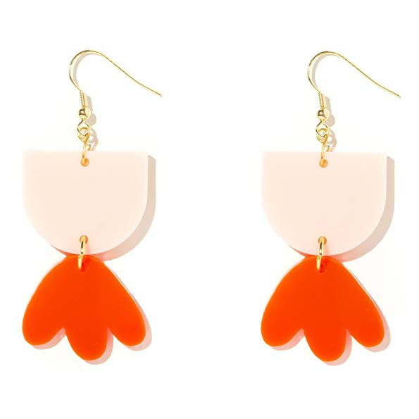 Bambi Pale Pink and Neon Red Earrings - Emeldo