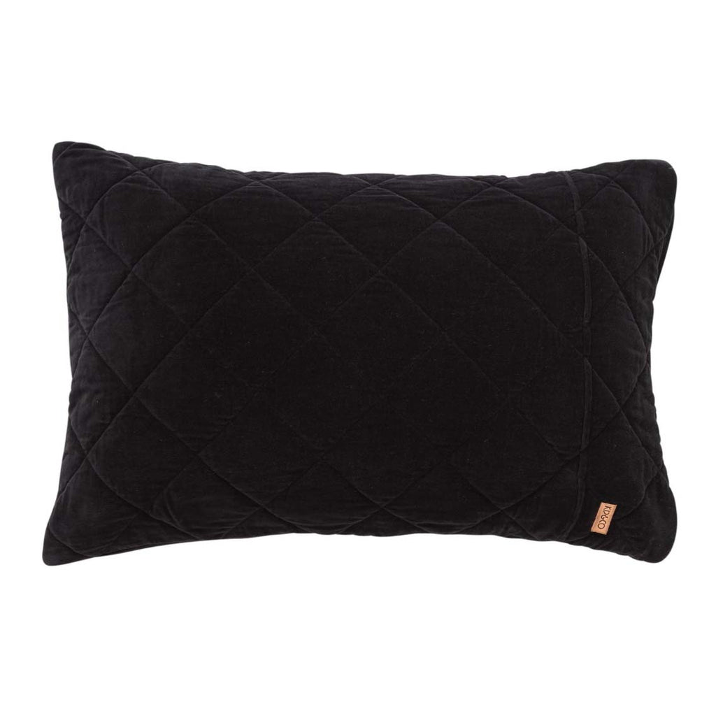 Jet Black Velvet Quilted Pillowcase Set